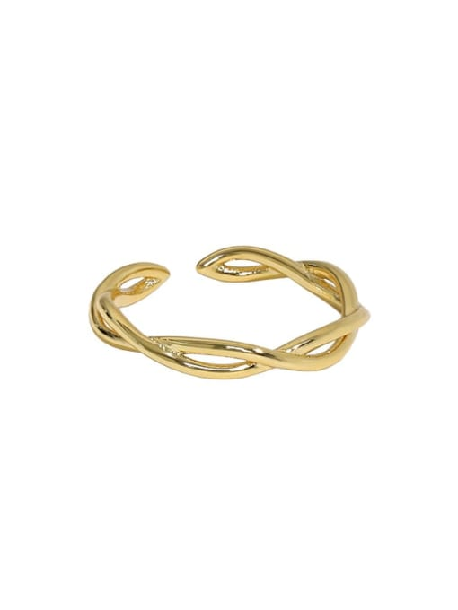 18K gold [12 Adjustable] 925 Sterling Silver Irregular Minimalist Twist Interweave Band Ring